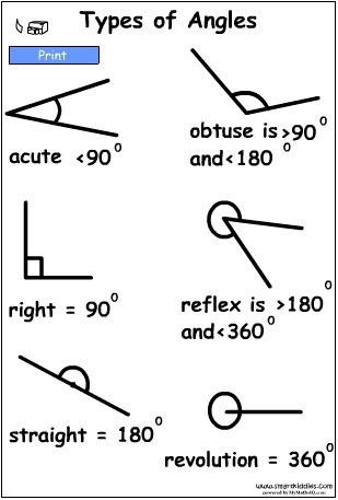 Types of Angles PosterBW.swf, Mathematics skills online