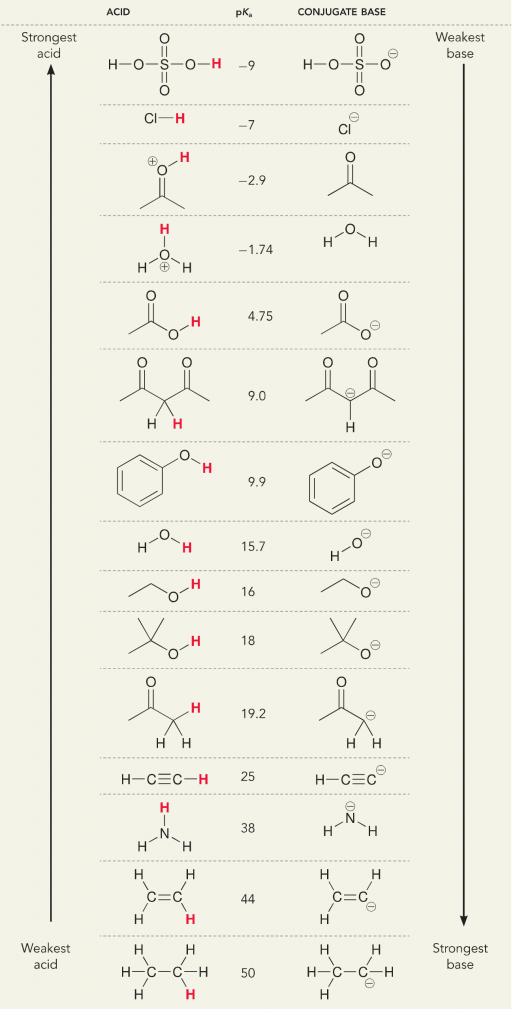 acid; base; organic chemistry; pKa; conguate acid