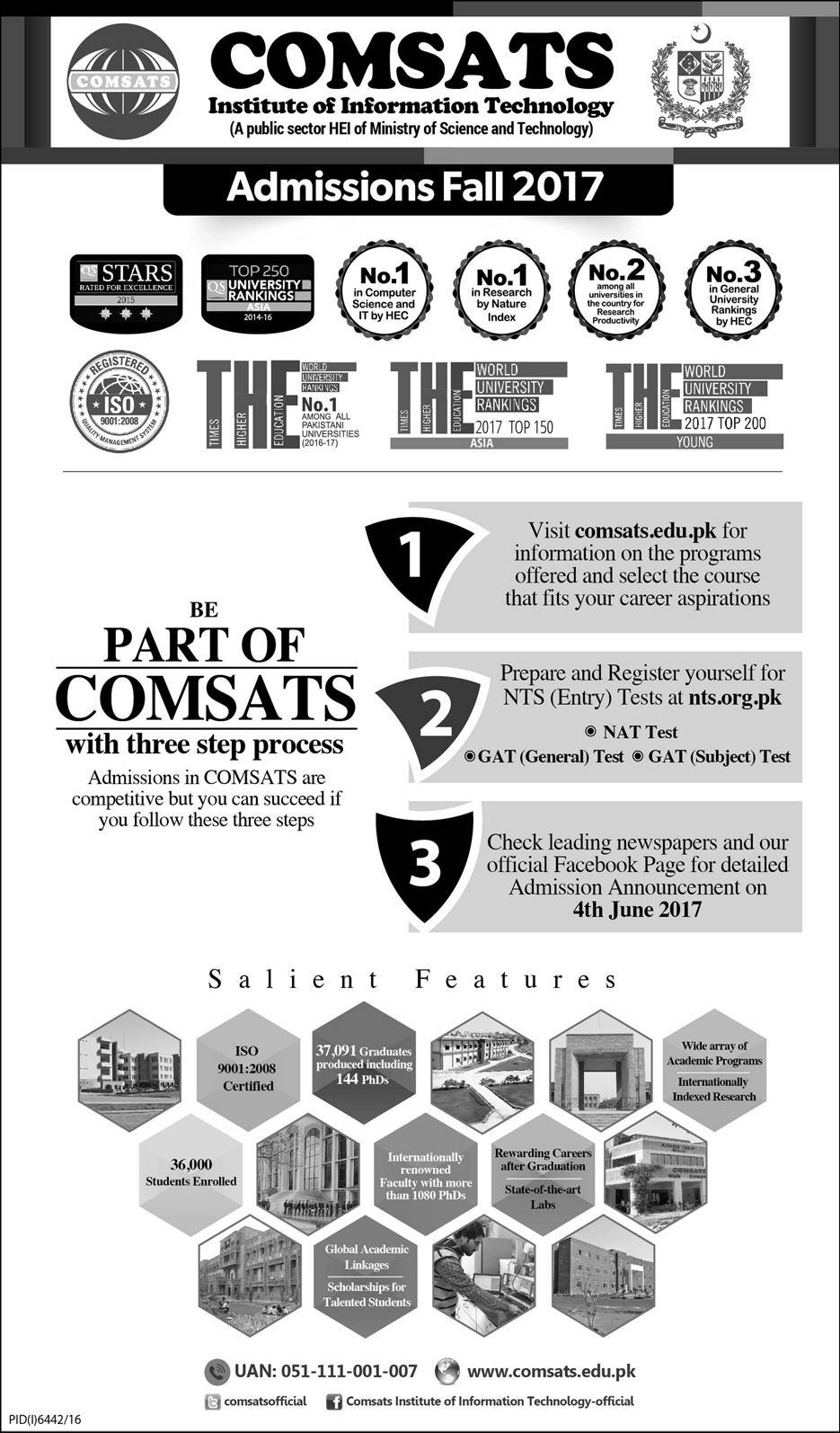 COMSATS Fall Admission 2017 Registration NTS Nat, Gat Test