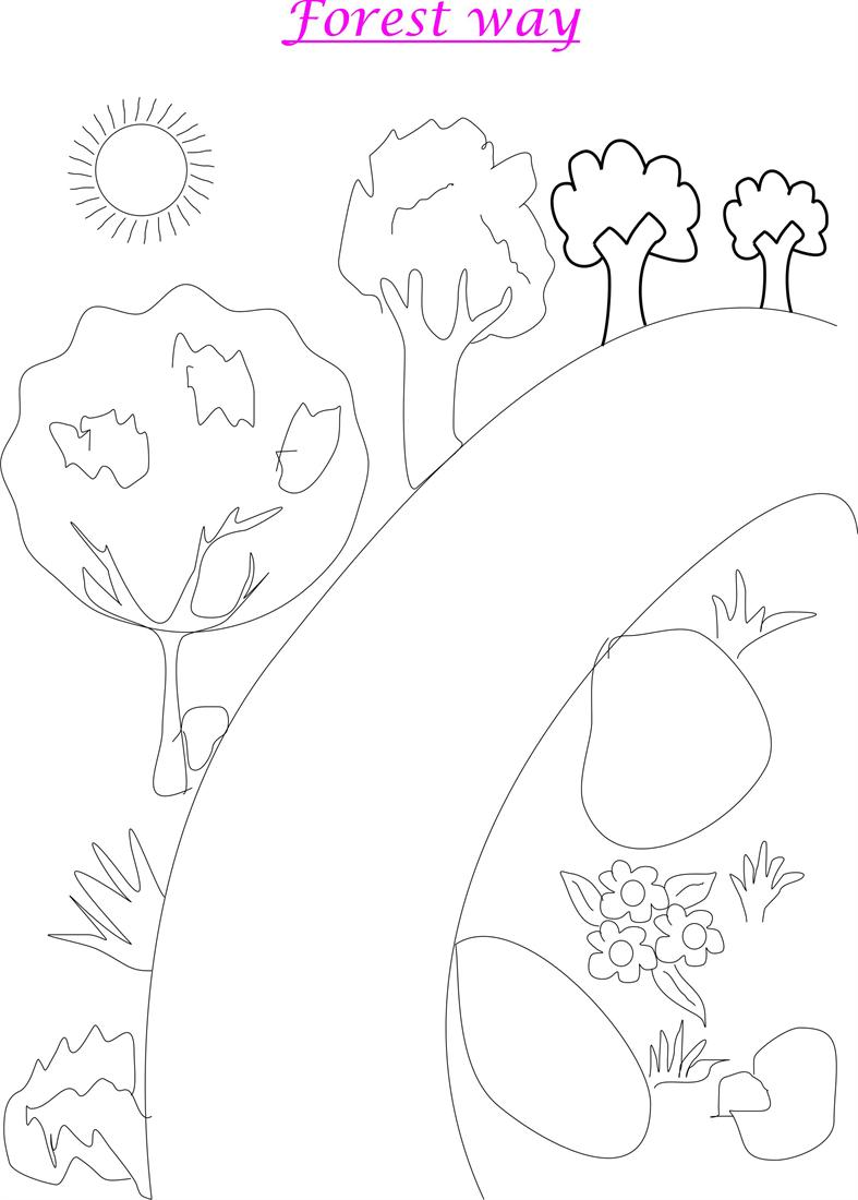 Forest scenery coloring page printable for kids