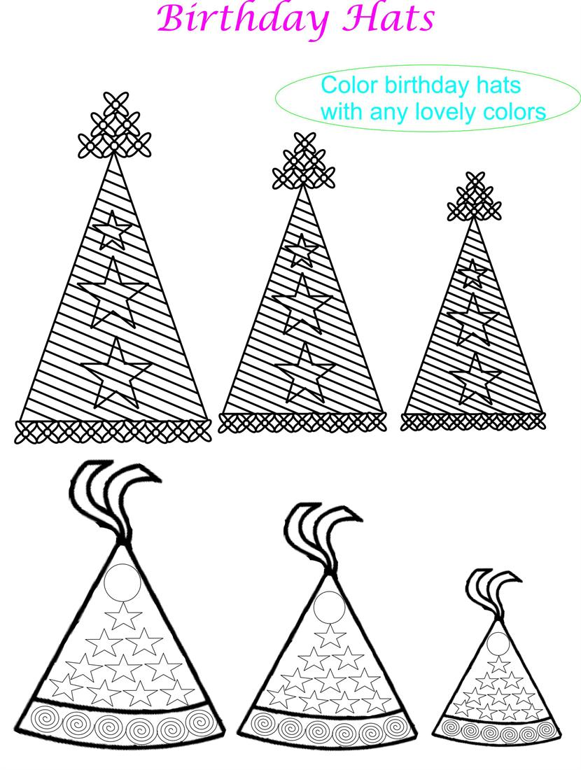 Birthday Hat Coloring Pages For Kids