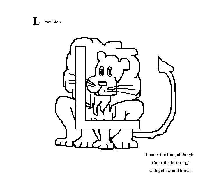 Letter L coloring printable page for kids