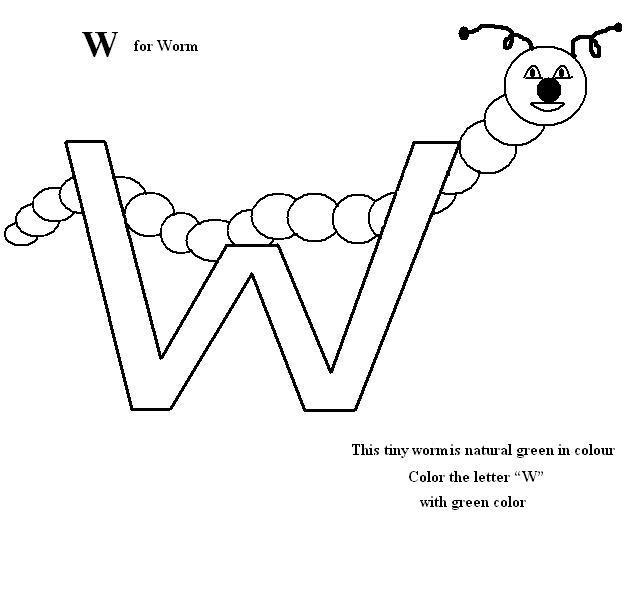 Letter W coloring printable page for kids