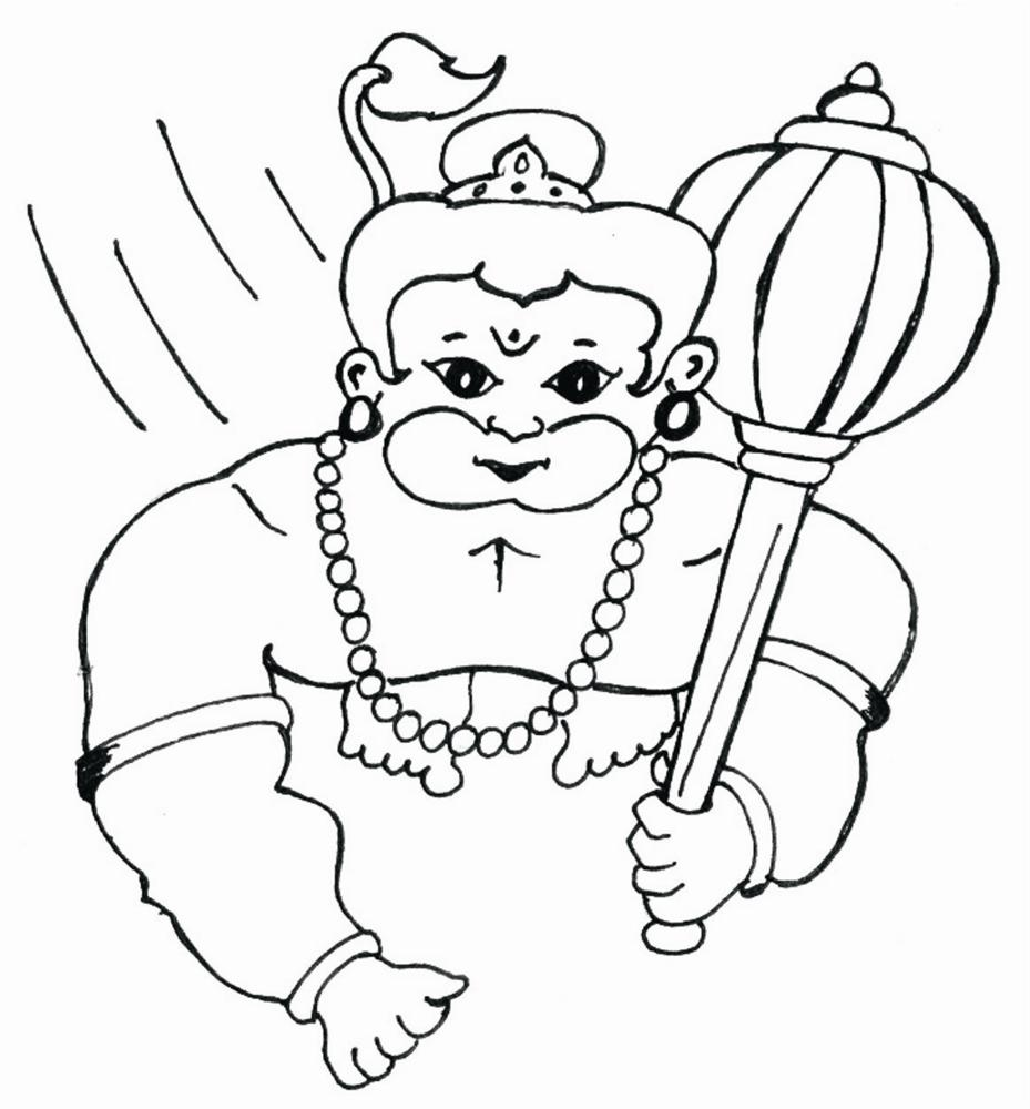 Lord Hanuman childhood Coloring pages for kids