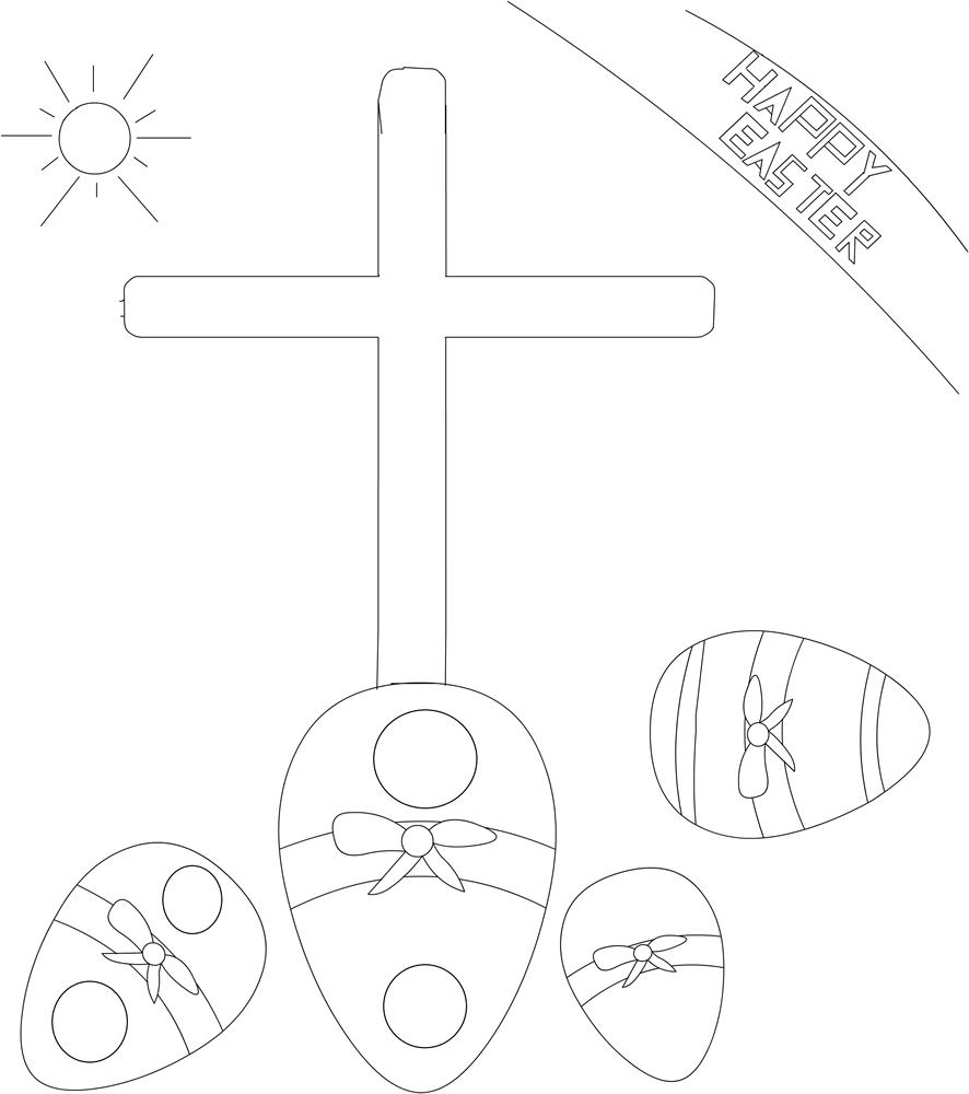 Easter symbols coloring printable page for kids