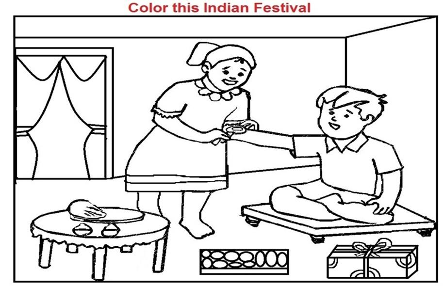 Coloring Worksheets of Rakshabandhan Festival