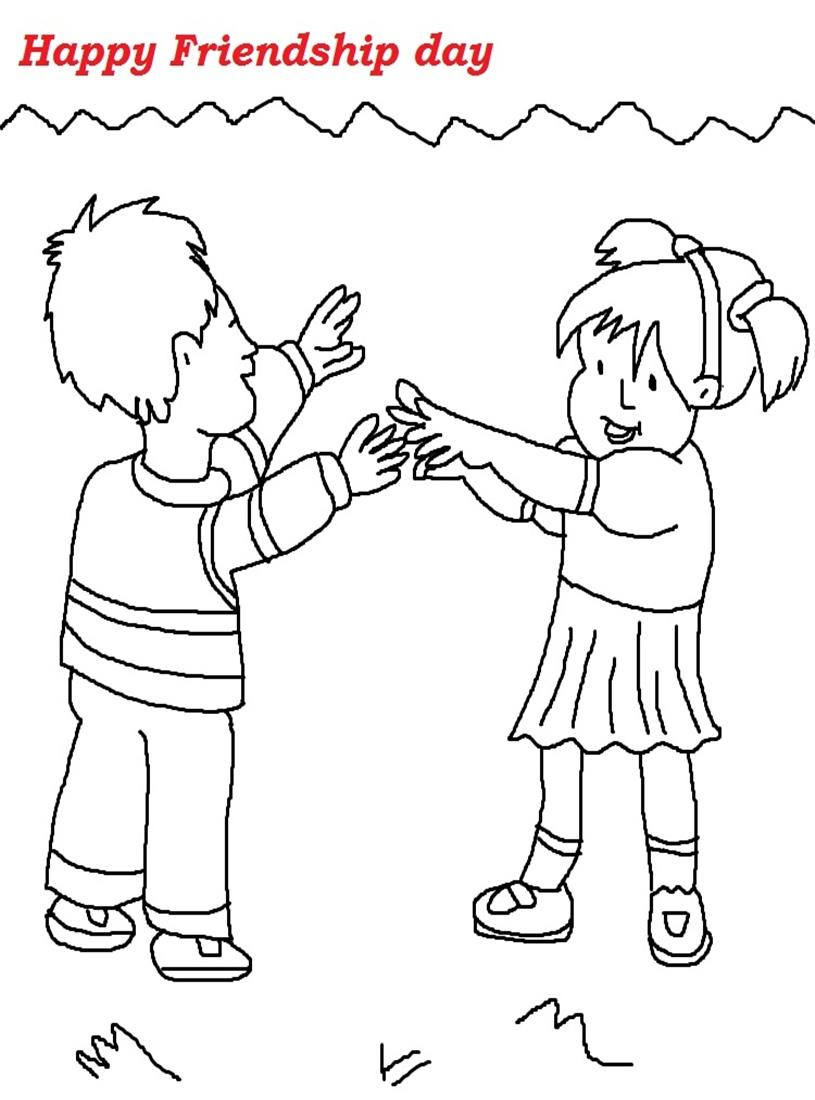 Friendship day printable coloring page for kids 1