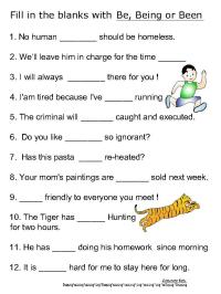 Helping verb worksheets for be, been, being