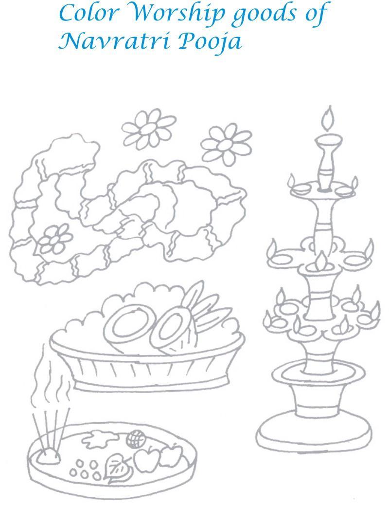 Navratri printable coloring page for kids 5