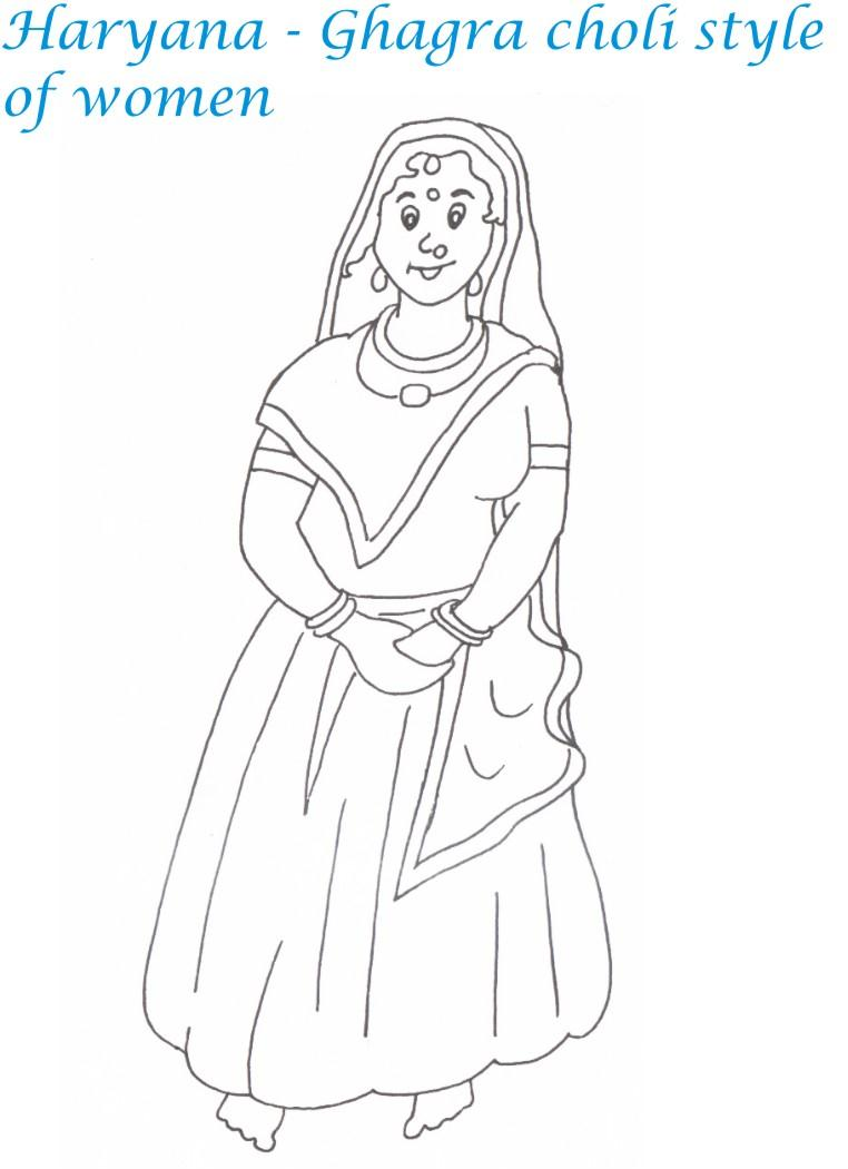 Haryana women wear printable coloring page for kids