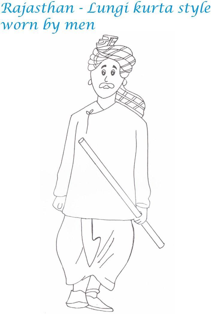 Rajasthan Menswear Printable Coloring Page For Kids