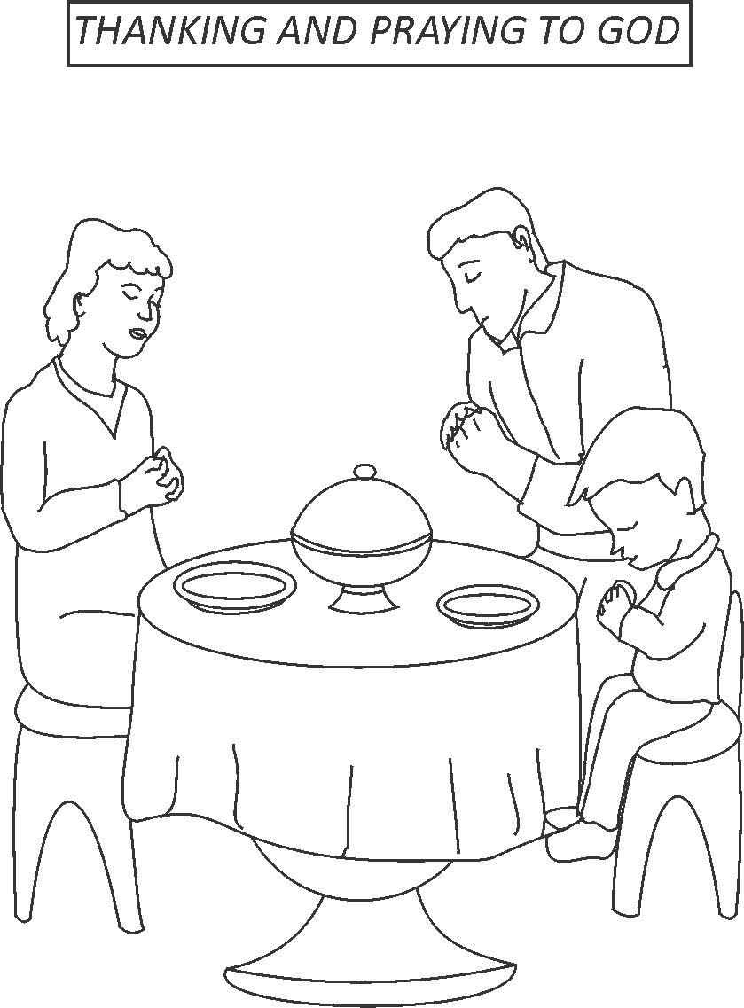 Thanking and praying to god coloring page