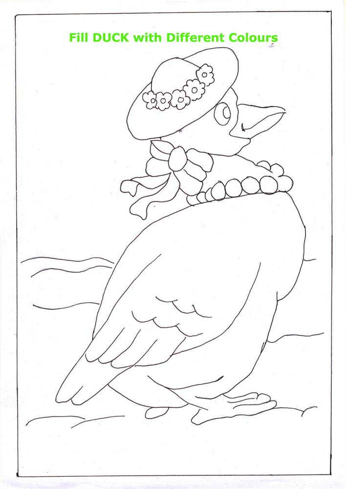 Duck coloring printable page for kids 1