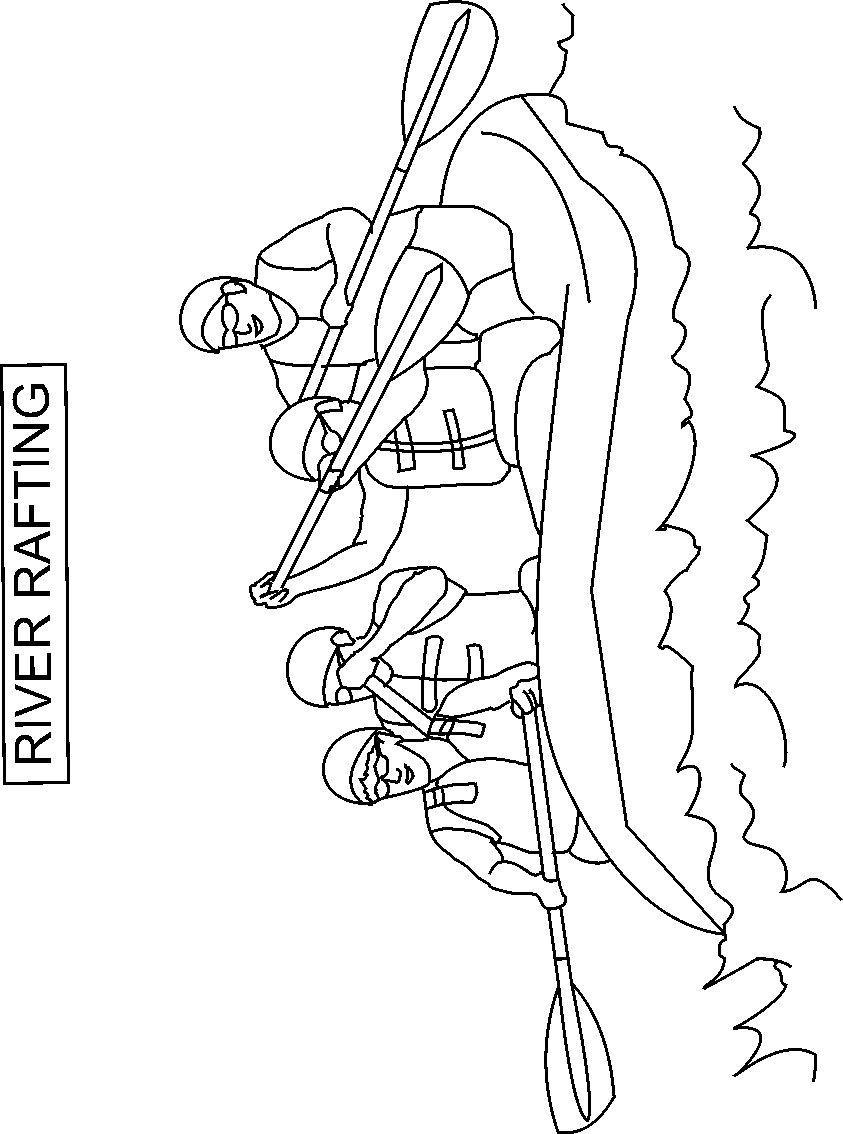 Rafting coloring printable page for kids