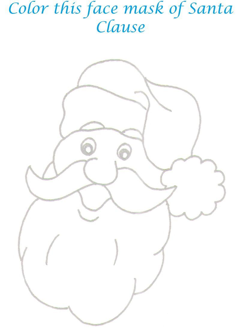 Santa Face Mask Coloring Printable Page For Kids