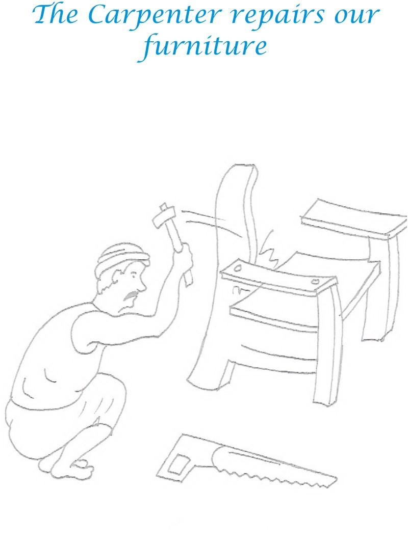 Carpenter coloring printable page for kids