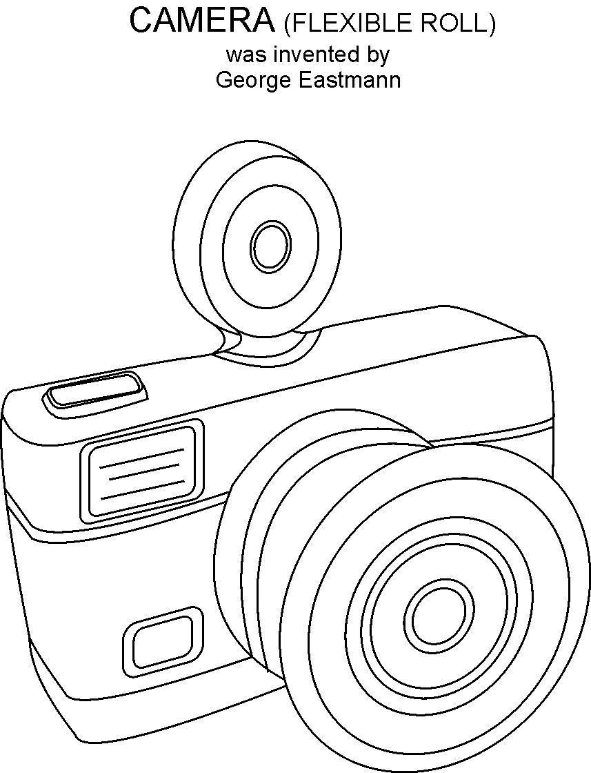 Camera coloring printable page