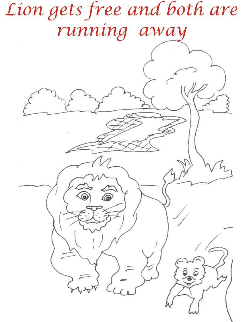 Lion and Rat Running coloring page for kids