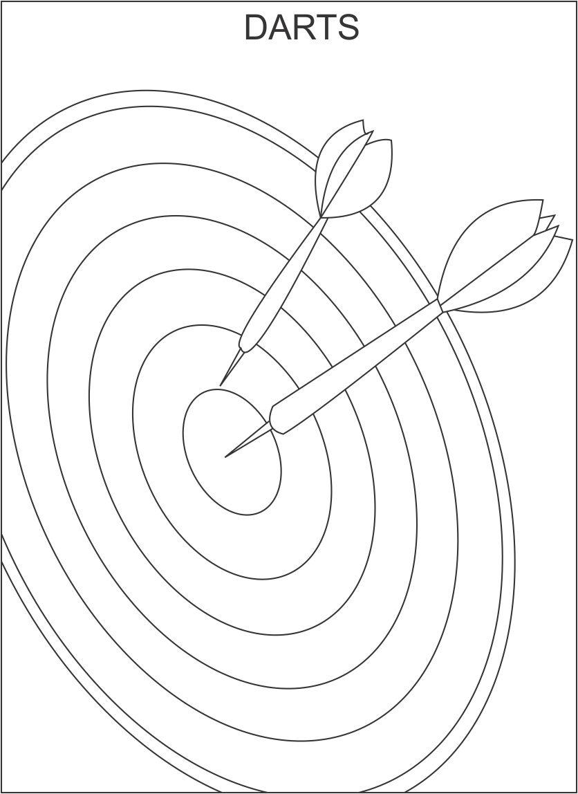 Darts coloring printable page for kids
