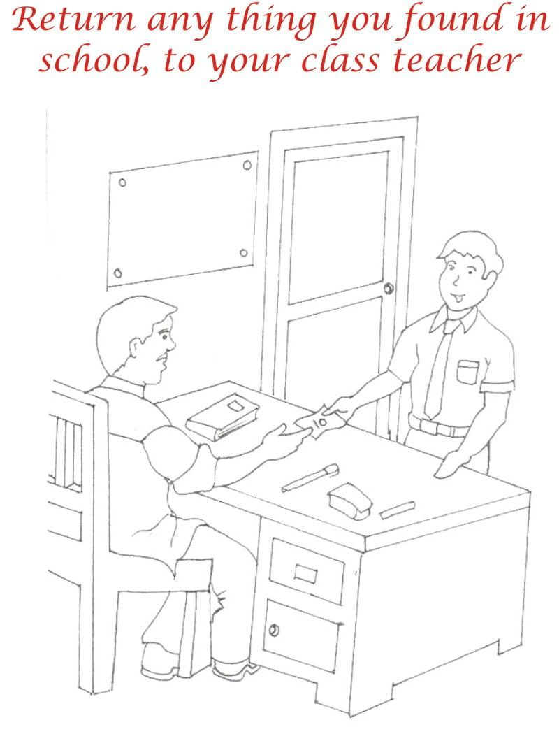 Manners in school coloring page for kids