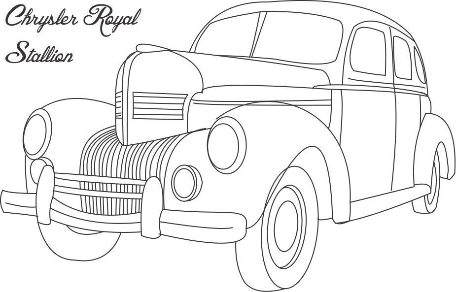 chrysler royal stallion car coloring page for kids