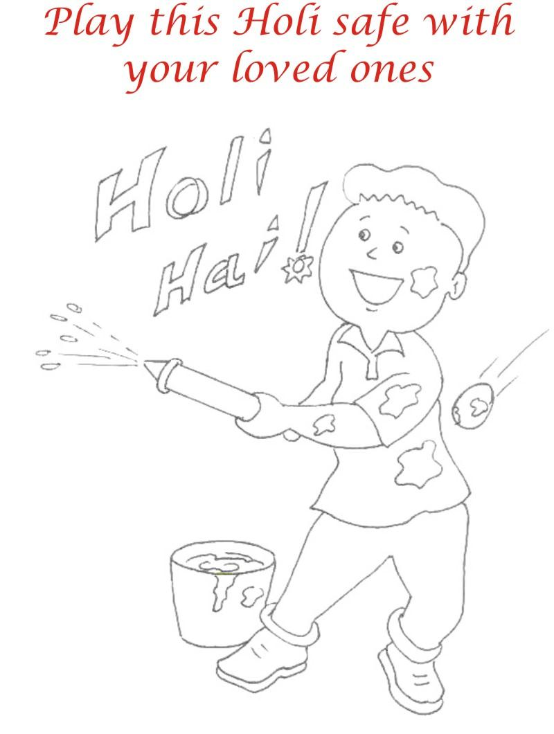 Holi Coloring Pages For Kids Sketch Coloring Page