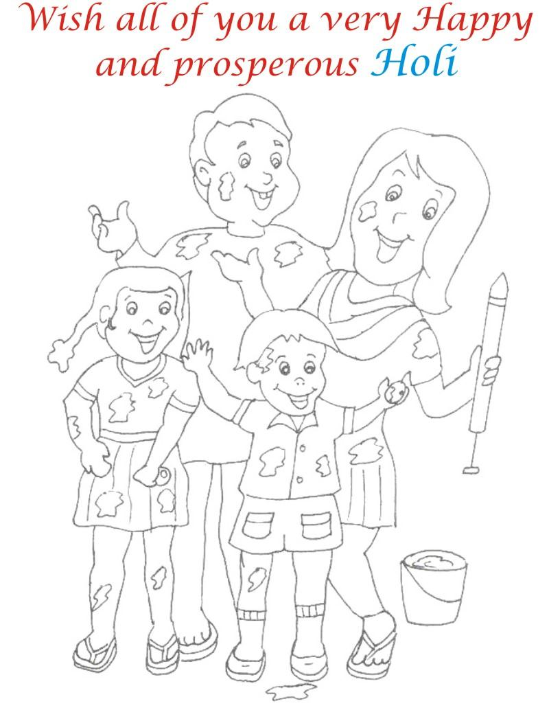 Holi coloring printable pages for kids