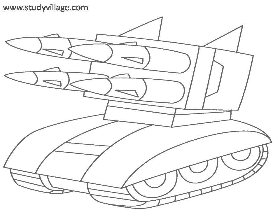 Military Weapons coloring page for kids 1