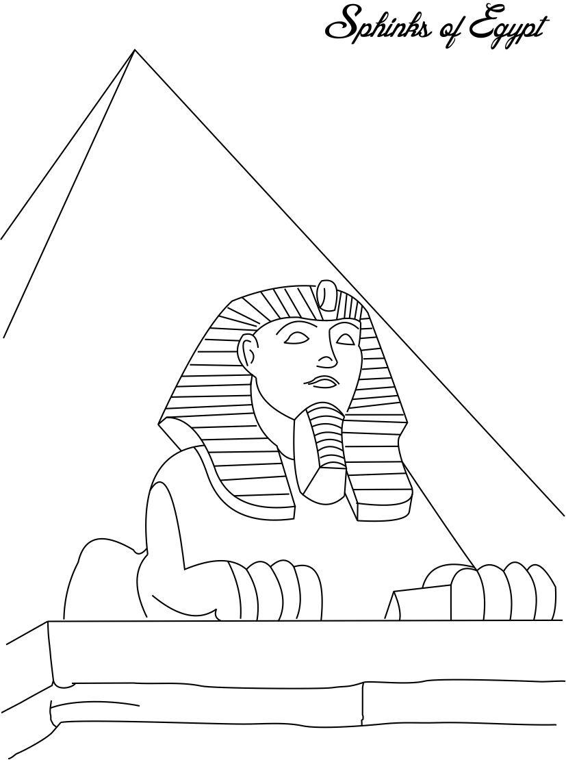 Sphinks of Egypt coloring page for kids