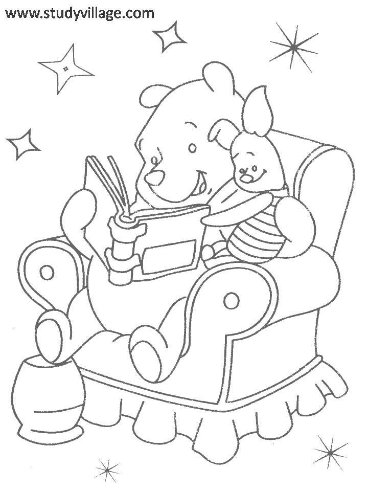 Winnie the Pooh and Piglet reading story book coloring
