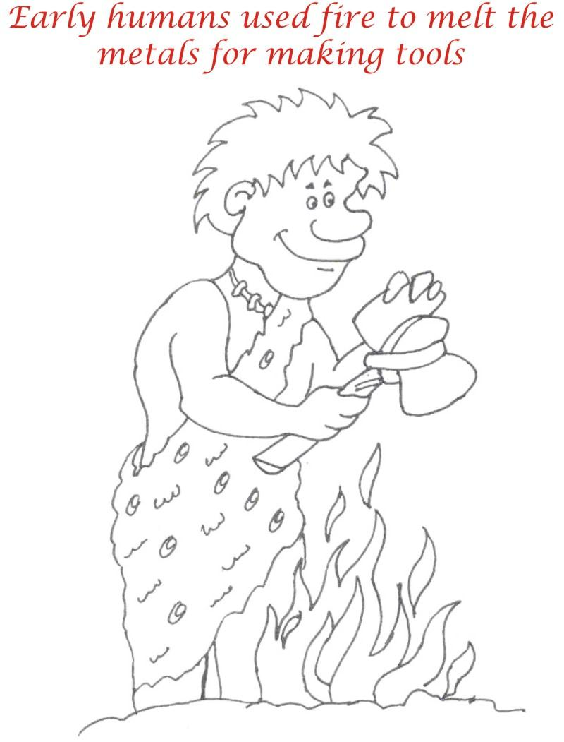 Early Humans printable coloring page for kids 8
