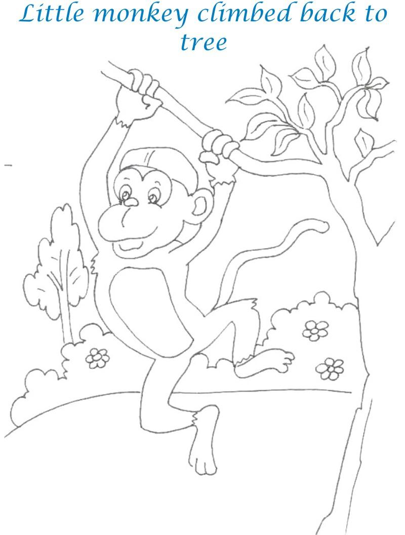 Monkeys and the cap seller story printable coloring pages