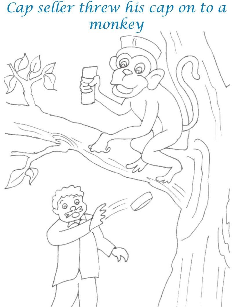 Cap Seller Story Coloring Page For Kids 19