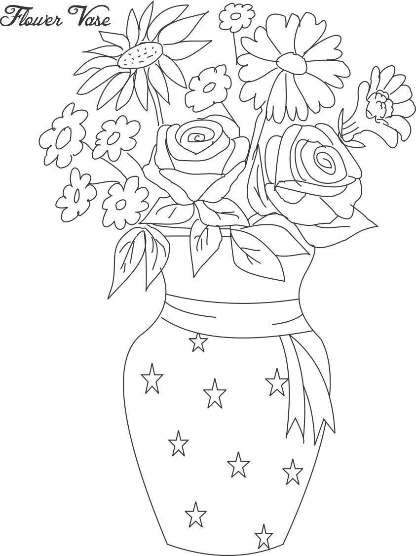 Flower pot coloring page 12