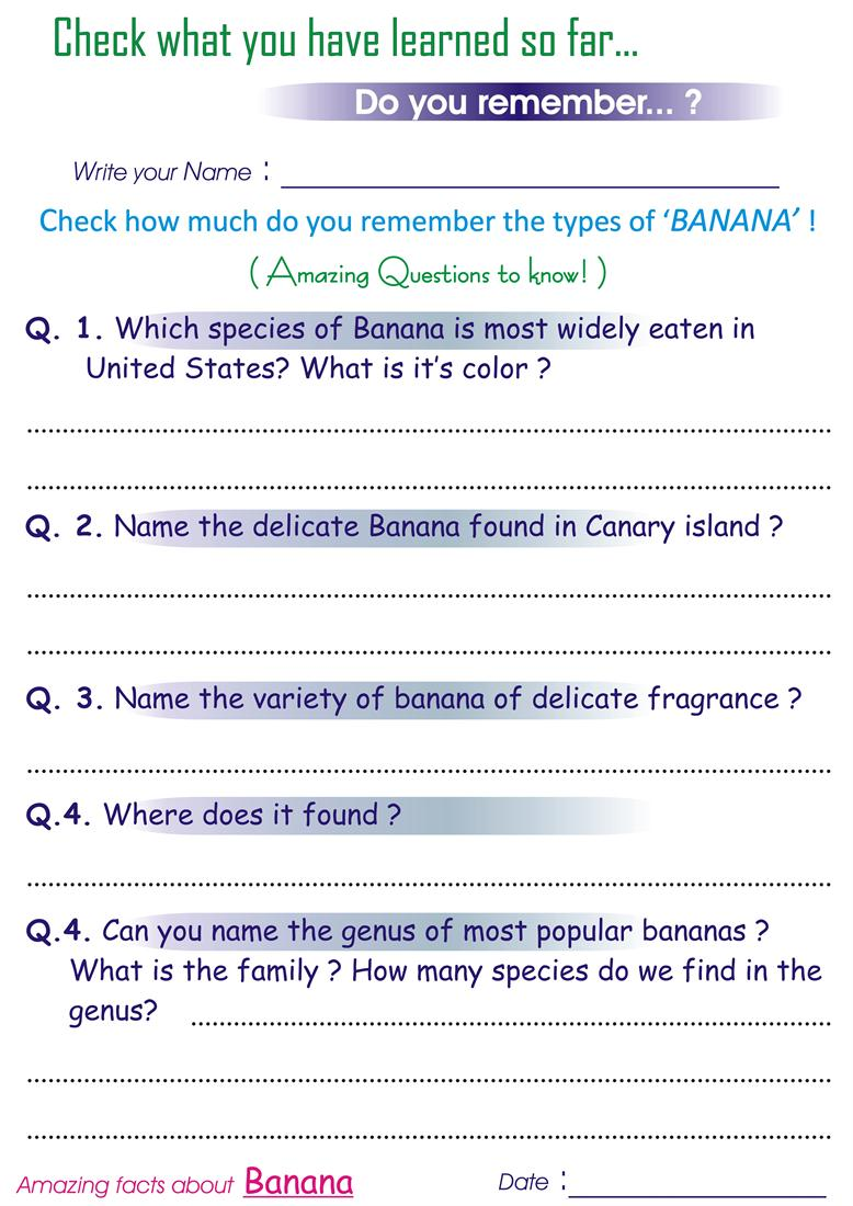 Questions On Types Of Banana Worksheets For Kids