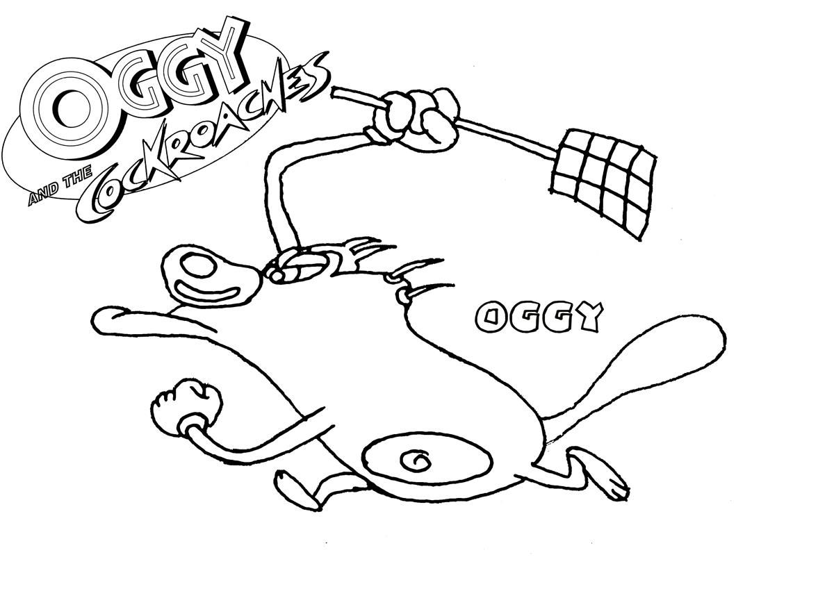 Oggy And The Cockroaches Coloring Page2
