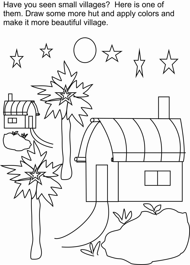 Village scene coloring printable page for kids