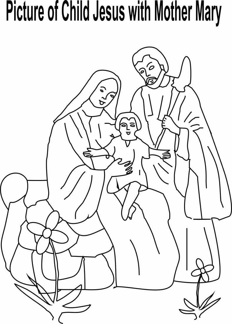 Child Jesus with Mother Mary coloring page