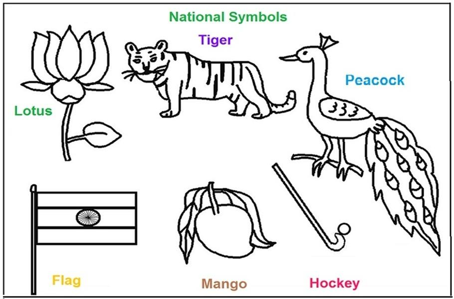 National Symbols of India coloring printable pages for kids