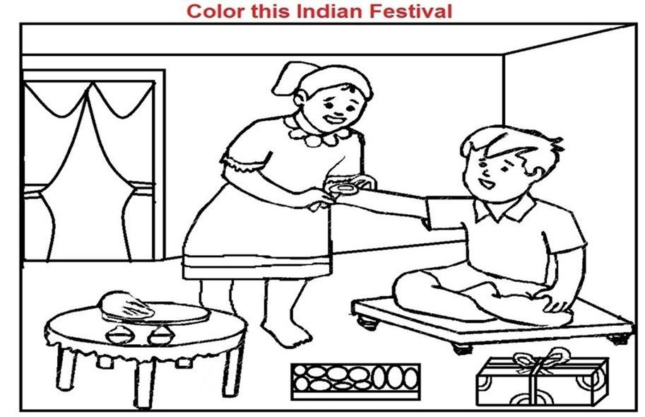 Coloring Worksheets of Rakshabandhan Festival