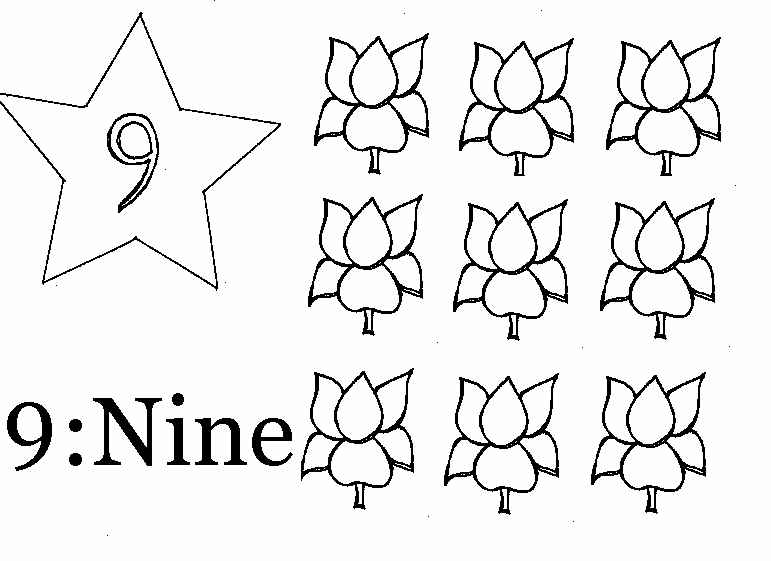 coloring page of number 9