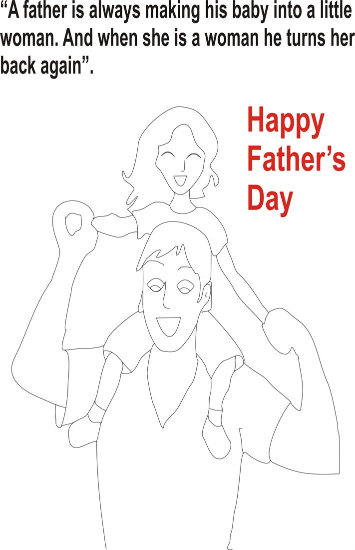 Father's day coloring pages for kids to print and paint