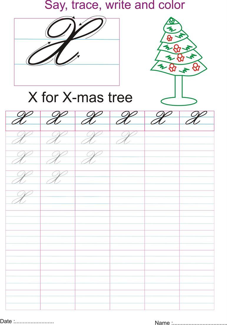 Cursive Captial Letter X Worksheet
