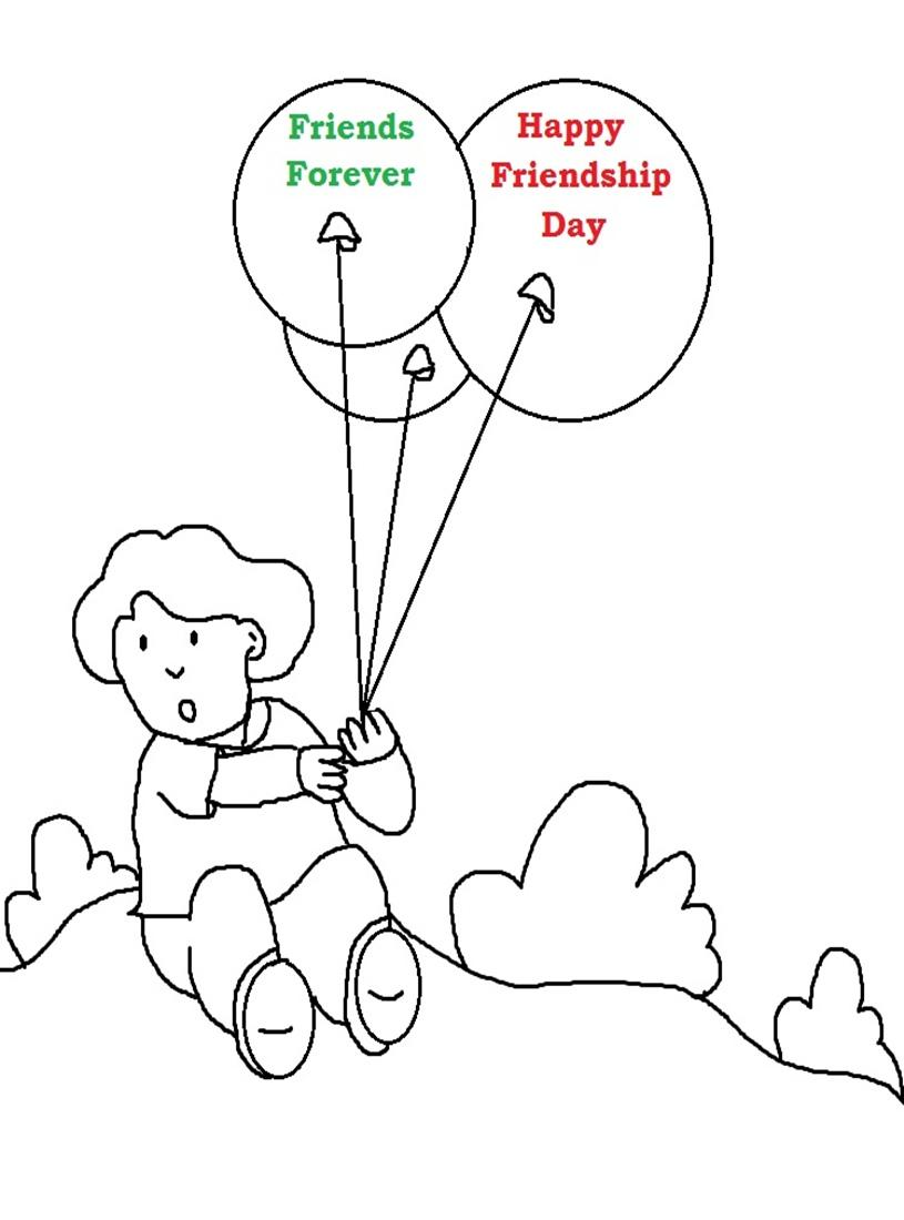 Friendship day printable coloring page for kids 2
