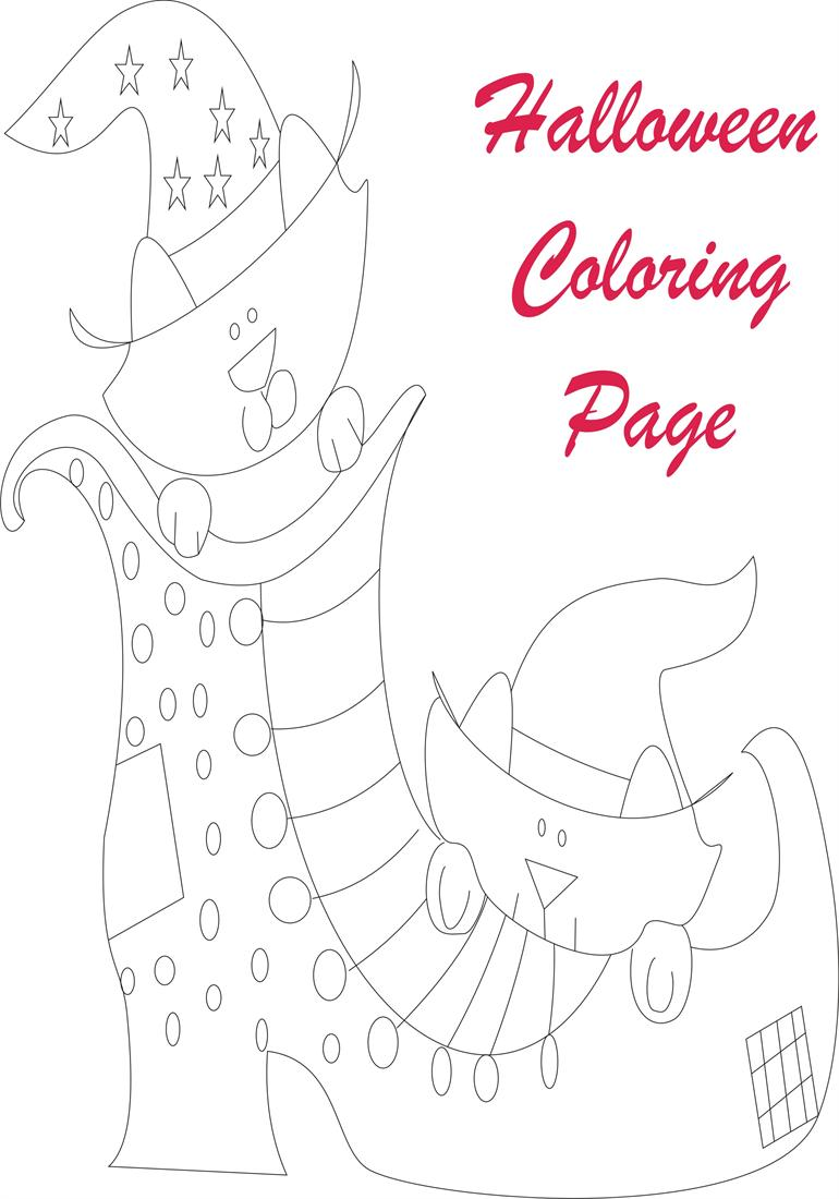 Halloween coloring printable page for kids 2