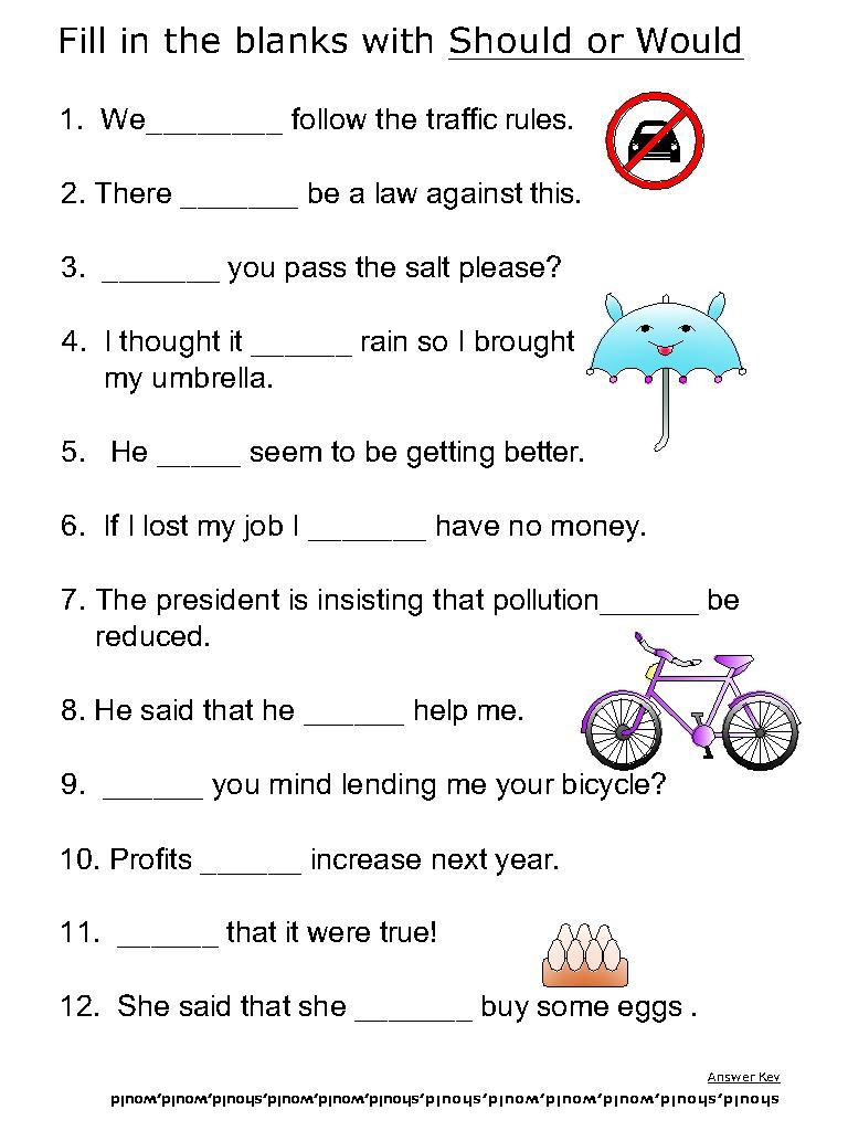 Helping Verb Worksheets For Should Would