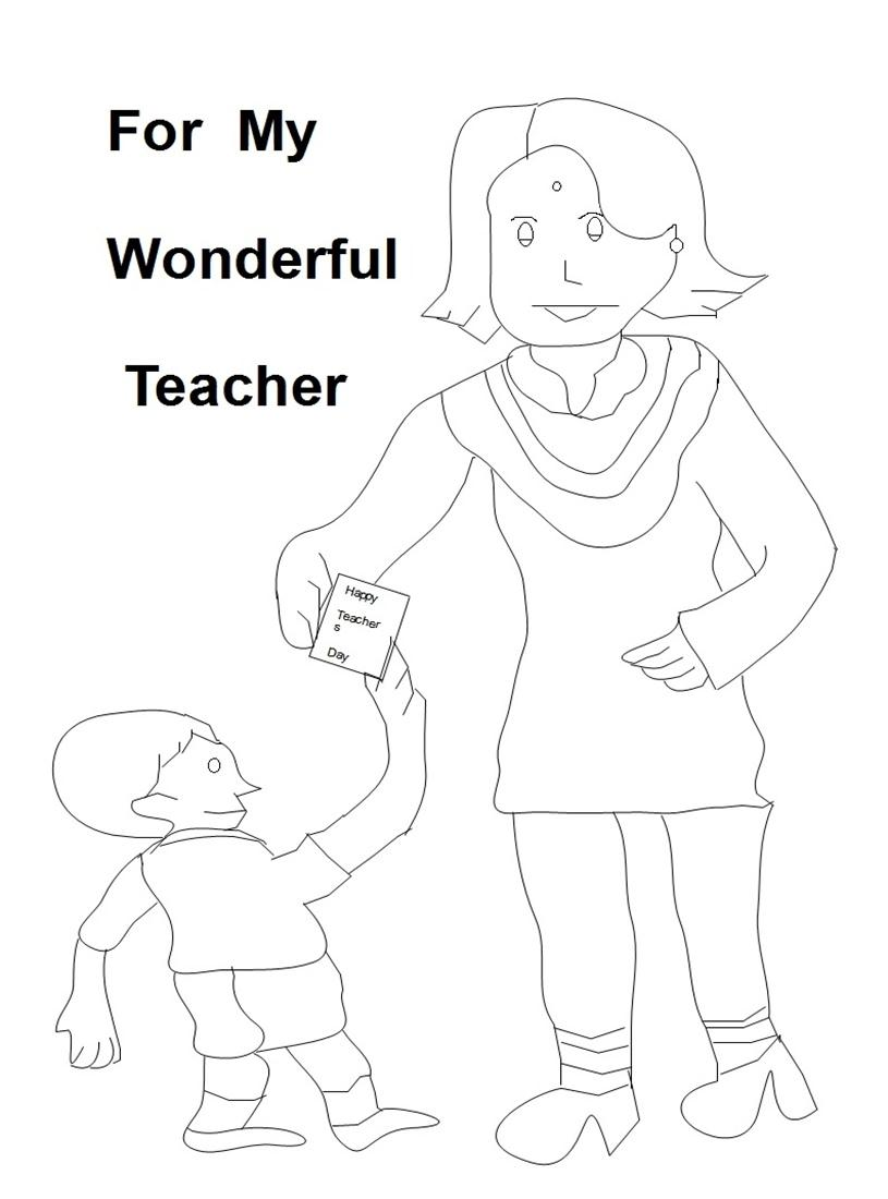 Teacher's day coloring worksheets for kids 3