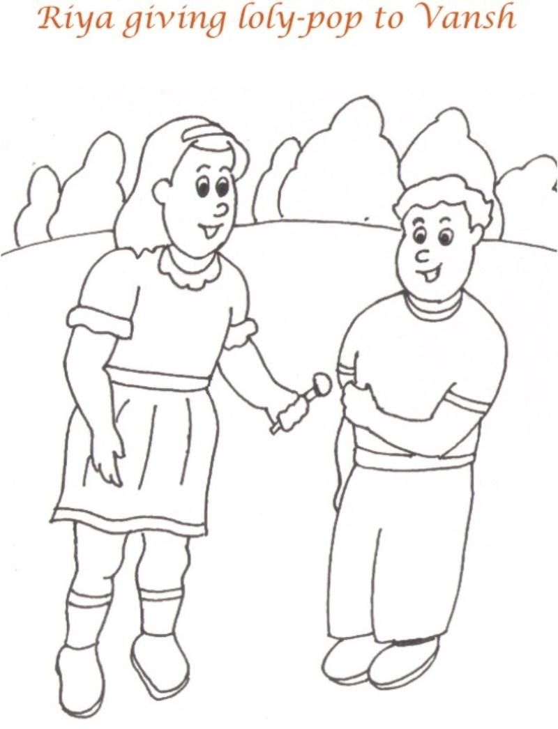 A Picnic day story coloring page for kids 9