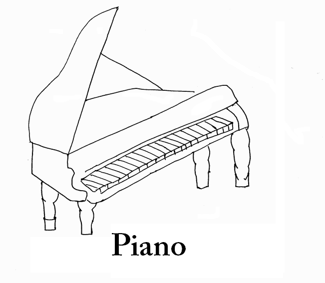 Piano coloring page printable for kids