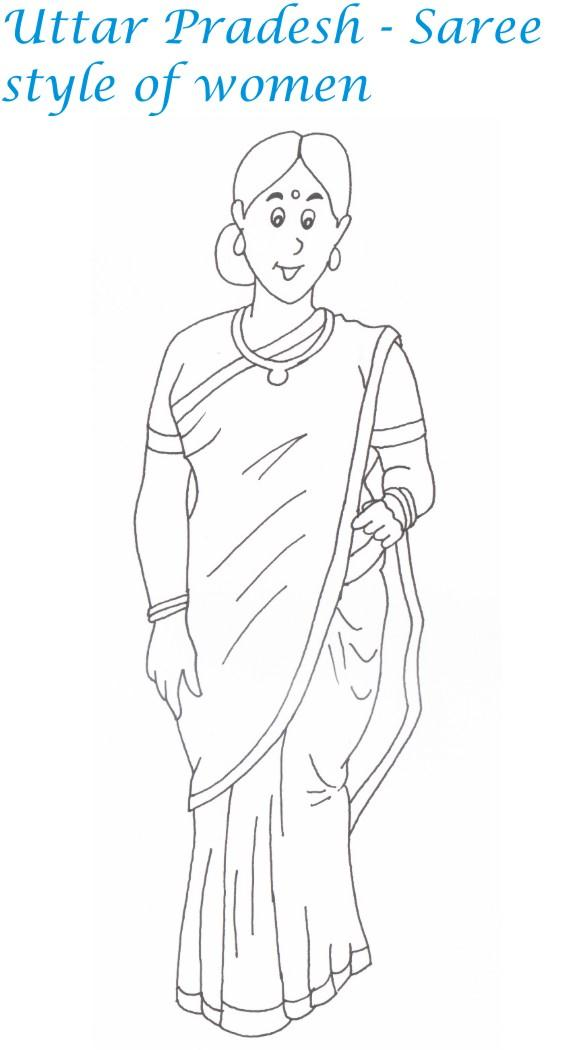 Saree India Clothing Page Coloring Pages